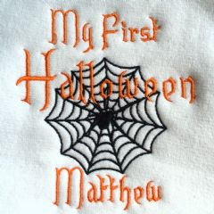 Personalised My 1st Halloween Babies Bib - Spider Web